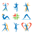 Fitness health icons vector image