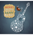 Christmas and New Year vintage card vector image