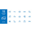 15 auto icons vector image vector image