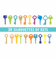 20 set of vintage keys shape vector image