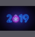 2019 new year neon background christmas neon sign vector image vector image