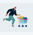 a running man with shopping cart on white vector image vector image