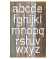 Alphabet white color paint on wood retro color