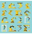 Automation Conveyor Orthogonal Flat Icons Set vector image vector image
