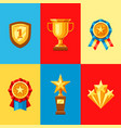 awards and trophy icons set vector image vector image