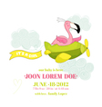 baby shower card - flamingo girl on plane vector image vector image