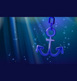 background nautical anchor 3d blue rounded vector image vector image