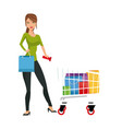 beauty woman standing cart shopping gifts concept vector image vector image