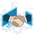 business handshake via phone and laptop vector image vector image