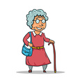 Cartoon Old Lady Character isolated on white vector image