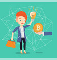 caucasian woman getting bitcoin coin for start up vector image vector image