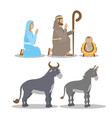 celebration merry christmas manger flat design vector image vector image