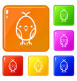 chick icons set color vector image vector image