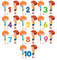 children holding number board vector image vector image