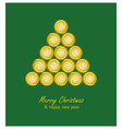 Christmas card with golden tree and balls on green vector image