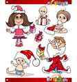 Christmas Children and Babies Cartoon Set vector image vector image