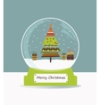 christmas glass ball with fir tree vector image