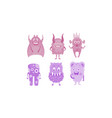 colection of cute monsters colored funny alien vector image vector image