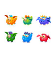 colorful little glossy fantastic monsters set vector image vector image