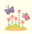 cute butterflies flying over flower garden vector image