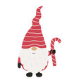 cute christmas gnome with candy vector image vector image