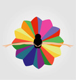 dancing ballerina wearing a colorful dress vector image