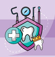 dental care tooth crown tools protection vector image