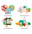 diet for weight loss 2x2 design concept vector image vector image