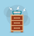 digital clock alarm on bedside table vector image