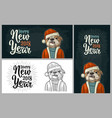 dog santa claus in hat coat happy new year vector image