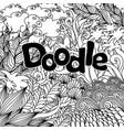 doodle natural floral background vector image vector image