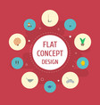 flat icons rake grower latex and other vector image vector image