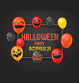frame with halloween balloons halloween party vector image vector image