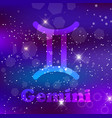 gemini zodiac sign on a cosmic purple background vector image