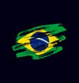 grunge textured brazilian flag vector image
