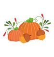 happy thanksgiving day pumpkins acorns leaves vector image vector image