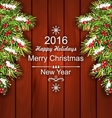 Holiday Wooden Poster with Fir Branches vector image