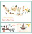 indonesian map with animals and landmarks vector image vector image