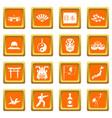 japan icons set orange vector image vector image