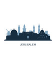 jerusalem skyline monochrome silhouette vector image vector image