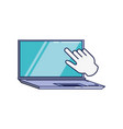 laptop computer with hand cursor vector image vector image