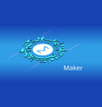 maker mkr isometric token symbol defi vector image vector image