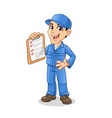 mechanic man holding clipboard with welcome hand vector image vector image