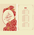 menu for the restaurant with roses in retro style vector image vector image