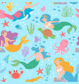 mermaid seamless pattern fairytale princesses and vector image