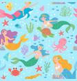 mermaid seamless pattern fairytale princesses vector image vector image