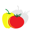 monochrome icon set with tomato and pepper vector image