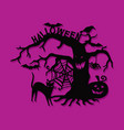 paper cut silhouette halloween decoration spooky vector image vector image
