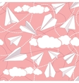 Paper Planes in Clouds Seamless Pattern vector image vector image