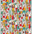 people travel luggage crowd seamless pattern vector image